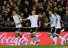 FIL VALENCIA ATLETICO. Valencia Club de Futbol players celebrates the goal of Denis Cheryshev during the La Liga match at Mestalla, Valencia Royalty Free Stock Images