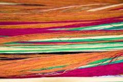Fil vert rose orange mou de coton pour le fond abstrait Image libre de droits