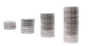 Fila 1 de las monedas Imagen de archivo libre de regalías