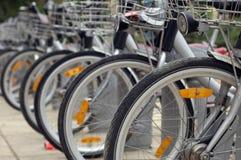 Fila Bikerank de la bicicleta foto de archivo libre de regalías