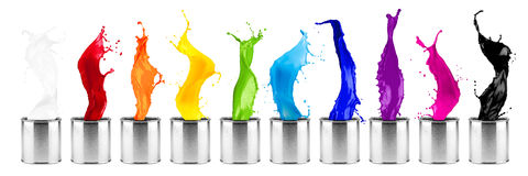Fila colorida del chapoteo de la dosis del color del arco iris Fotos de archivo libres de regalías