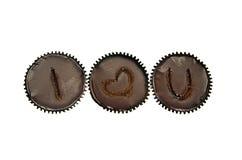 fila de 3 del amor tortas de chocolate Foto de archivo libre de regalías
