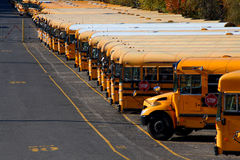 Fila de autobuses escolares Fotografía de archivo