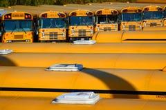 Fila de autobuses escolares Foto de archivo libre de regalías