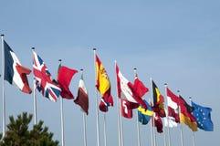 Fila de banderas Imagen de archivo