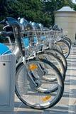Fila de bicicletas, un transporte público en Luxemburgo Imagen de archivo