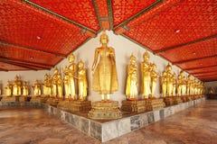 Fila de Buddhas asentado Imagenes de archivo
