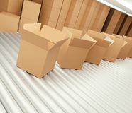 Fila de cajas abiertas marrones en la banda transportadora 3d-illustration ilustración del vector