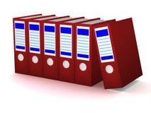 Fila de carpetas rojas con los documentos ilustración del vector
