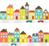 Fila de casas stock de ilustración