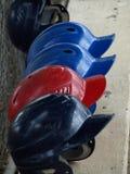 Fila de cascos Foto de archivo libre de regalías