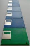 Fila de diskkettes Fotografía de archivo libre de regalías