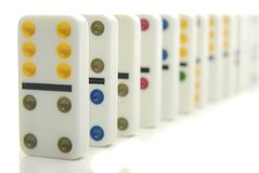 Fila de dominós Foto de archivo libre de regalías