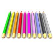 Fila de lápices coloreados Imagen de archivo