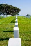 Fila de lápidas mortuorias en un cementerio Fotos de archivo libres de regalías