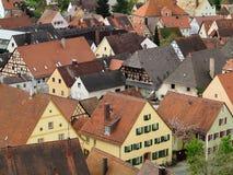 Fila de la ciudad de Hilpoltstein de las casas Fotografía de archivo
