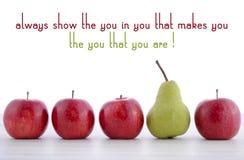 Fila de la fruta con la demostración usted en usted cita siempre concepto Imagen de archivo libre de regalías