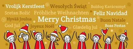 Fila de la gente del palillo que anima que lleva los trajes de Santa Claus, bandera de la Navidad, saludos en otros idiomas stock de ilustración