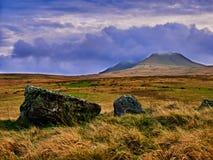 Fila de la piedra de la edad de bronce en Nant Tarw País de Gales Fotografía de archivo