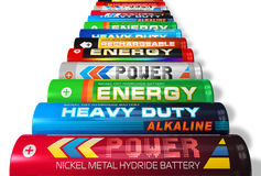 Fila de las baterías del AA stock de ilustración