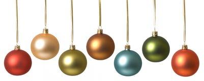 Fila de las bolas de la Navidad Foto de archivo