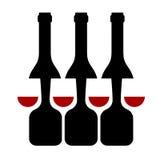 Fila de las botellas de vino y de la silueta de cristal ilustración del vector