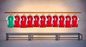 Fila de las camisas rojas y verdes de las camisas del fútbol 1-11 ilustración del vector