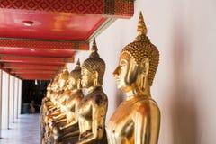 Fila de las estatuas de Buda del oro Foto de archivo