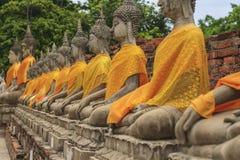 Fila de las estatuas de Buda en el templo Foto de archivo libre de regalías