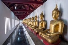 Fila de las estatuas de oro de Buda en la terraza del templo de Wat Phra Sri Rattana Mahathat, de Wat Yai o de Wat Buddha Chinnar imagen de archivo libre de regalías