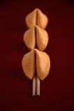 Fila de las galletas de fortuna Imagen de archivo libre de regalías