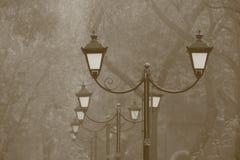 Fila de las lámparas de calle en parque imagenes de archivo