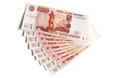 Fila de las rublos rusas Fotografía de archivo libre de regalías