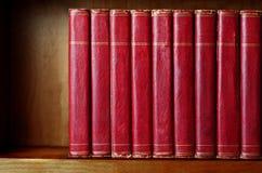 Fila de libros viejos en estante Fotografía de archivo libre de regalías