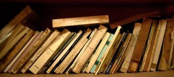 Fila de libros viejos en estante Imágenes de archivo libres de regalías