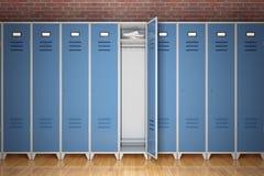 Fila de los armarios del gimnasio del metal delante de la pared de ladrillo representación 3d imágenes de archivo libres de regalías