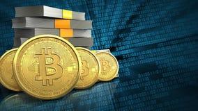 fila de los bitcoins 3d Foto de archivo libre de regalías