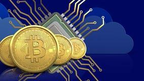 fila de los bitcoins 3d stock de ilustración