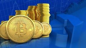 fila de los bitcoins 3d Fotos de archivo libres de regalías