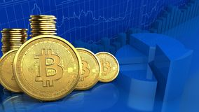 fila de los bitcoins 3d Foto de archivo