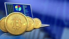 fila de los bitcoins 3d Imagen de archivo