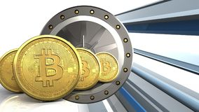 fila de los bitcoins 3d libre illustration