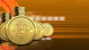 fila de los bitcoins 3d Fotografía de archivo libre de regalías