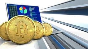 fila de los bitcoins 3d Imágenes de archivo libres de regalías