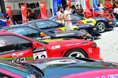 Fila de los coches de la desviación en la desviación 2010 de la fórmula Fotografía de archivo