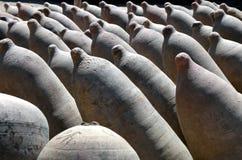 Fila de los crisoles del almacenaje de Fermenation del vino de la arcilla foto de archivo libre de regalías