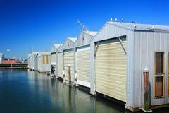 Fila de los garajes del barco Imagen de archivo libre de regalías