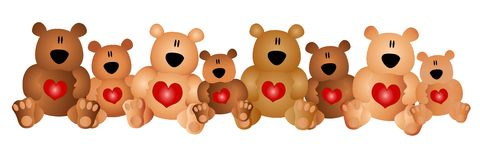 Fila de los osos lindos del peluche con los corazones Foto de archivo