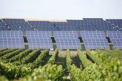 Fila de los paneles solares Fotos de archivo libres de regalías