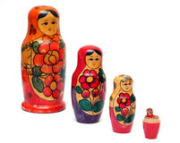 Fila de madera rusa de las muñecas Foto de archivo libre de regalías